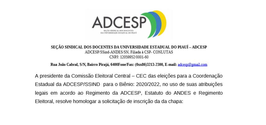COMISSÃO ELEITORAL HOMOLOGA CHAPA ÚNICA PARA ELEIÇÕES DA ADCESP 2020/2022