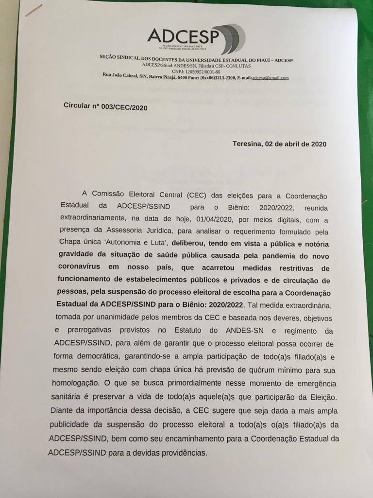 Comissão Eleitoral Central suspende calendário eleitoral da ADCESP, por conta da pandemia da Covid-19