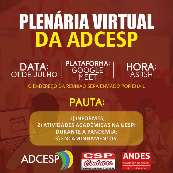 ADCESP convoca Plenária Virtual para dia 01/07; veja como participar
