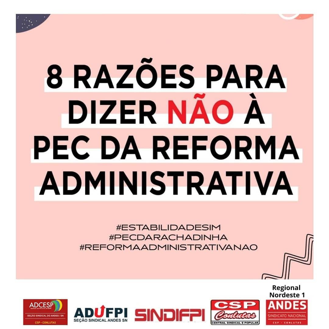 Regional NE1 do ANDES-SN e seções sindicais do Piauí lançam Campanha contra a Reforma Administrativa